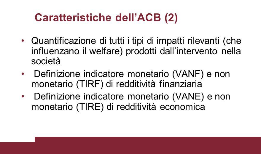 Caratteristiche dell'ACB (2) Quantificazione di tutti i tipi di impatti rilevanti (che influenzano il welfare) prodotti dall'intervento nella società