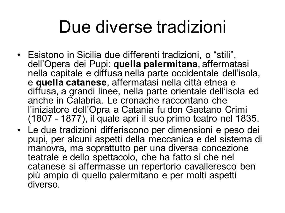 """Due diverse tradizioni Esistono in Sicilia due differenti tradizioni, o """"stili"""", dell'Opera dei Pupi: quella palermitana, affermatasi nella capitale e"""