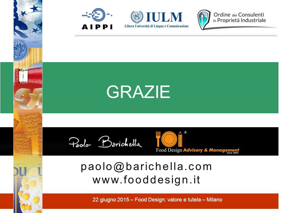 paolo@barichella.com www.fooddesign.it GRAZIE 22 giugno 2015 – Food Design: valore e tutela – Milano