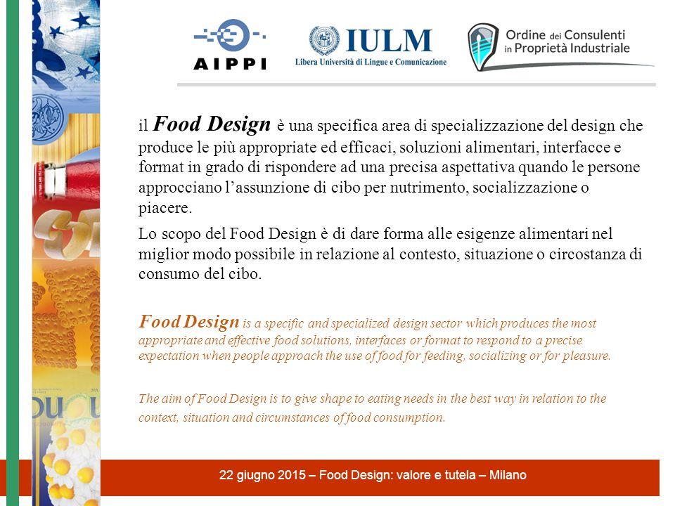 22 giugno 2015 – Food Design: valore e tutela – Milano Il Food Design è un processo di ricerca e sviluppo volto a produrre evoluti ed avanzati approcci alimentari.