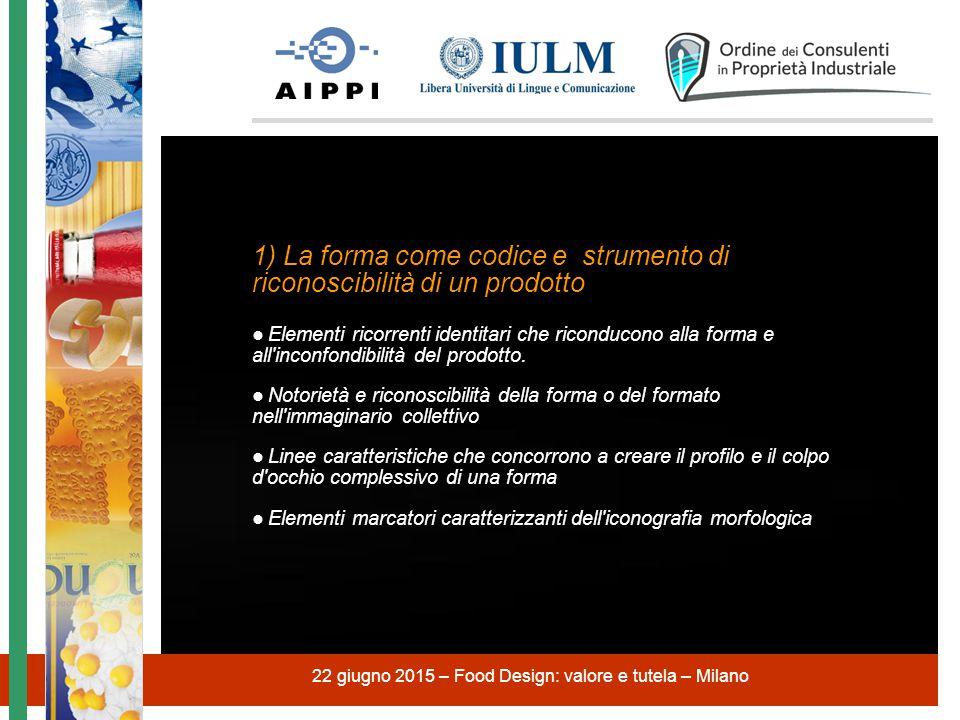 22 giugno 2015 – Food Design: valore e tutela – Milano 1) La forma come codice e strumento di riconoscibilità di un prodotto ● Elementi ricorrenti ide