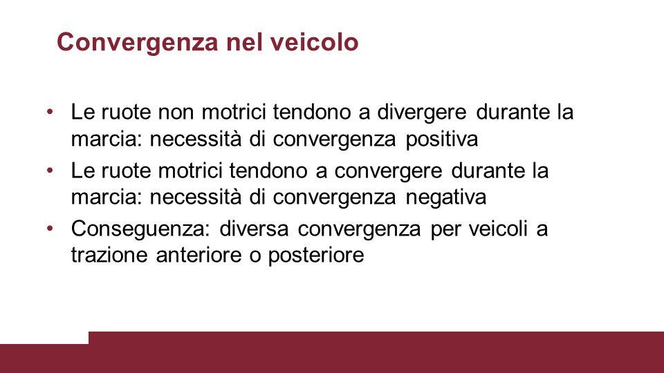 Convergenza nel veicolo Le ruote non motrici tendono a divergere durante la marcia: necessità di convergenza positiva Le ruote motrici tendono a conve
