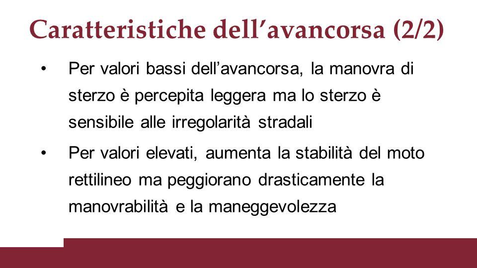 Caratteristiche dell'avancorsa (2/2) Per valori bassi dell'avancorsa, la manovra di sterzo è percepita leggera ma lo sterzo è sensibile alle irregolar