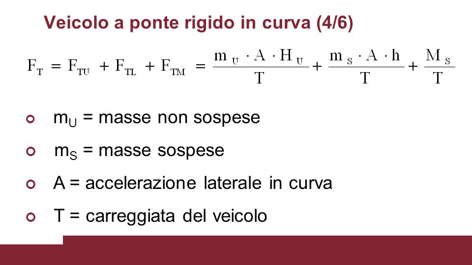 Veicolo a ponte rigido in curva (4/6) m U = masse non sospese m S = masse sospese A = accelerazione laterale in curva T = carreggiata del veicolo