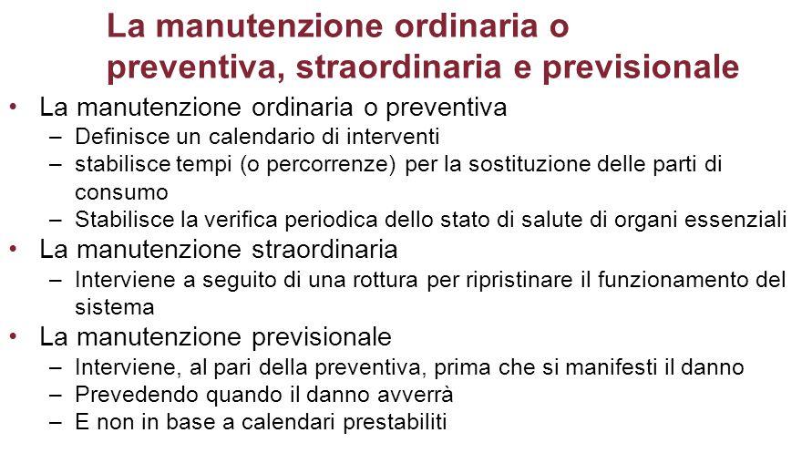 La manutenzione ordinaria o preventiva, straordinaria e previsionale La manutenzione ordinaria o preventiva –Definisce un calendario di interventi –st