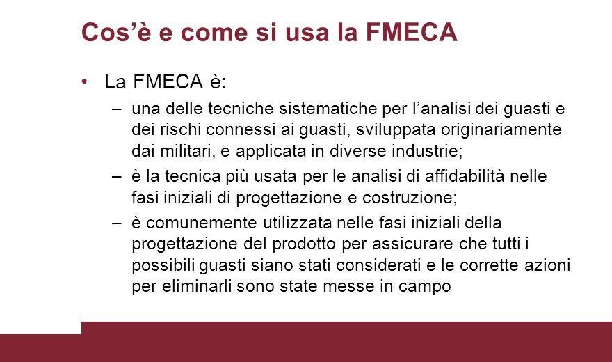 Cos'è e come si usa la FMECA La FMECA è: –una delle tecniche sistematiche per l'analisi dei guasti e dei rischi connessi ai guasti, sviluppata origina