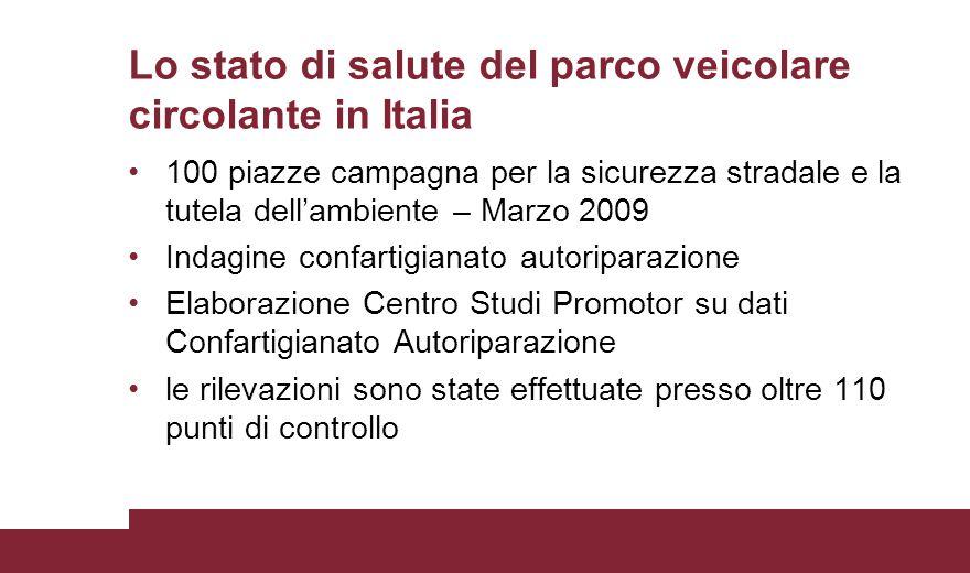 Lo stato di salute del parco veicolare circolante in Italia 100 piazze campagna per la sicurezza stradale e la tutela dell'ambiente – Marzo 2009 Indag