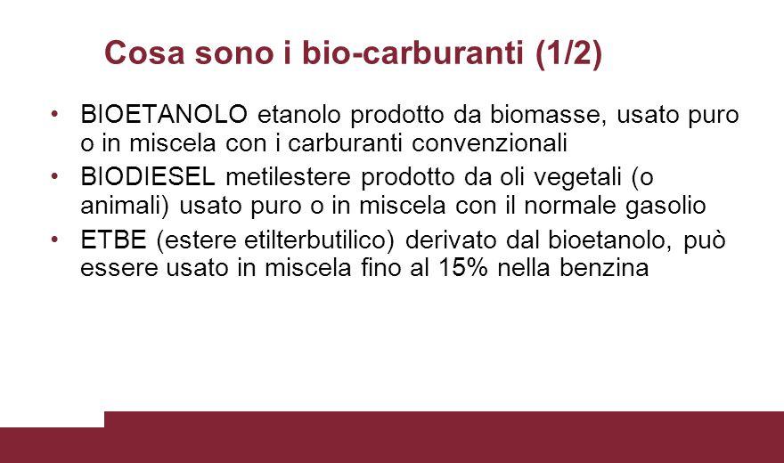 Cosa sono i bio-carburanti (1/2) BIOETANOLO etanolo prodotto da biomasse, usato puro o in miscela con i carburanti convenzionali BIODIESEL metilestere