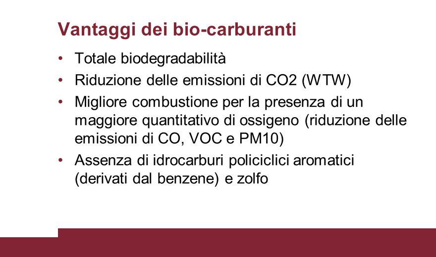 Vantaggi dei bio-carburanti Totale biodegradabilità Riduzione delle emissioni di CO2 (WTW) Migliore combustione per la presenza di un maggiore quantit