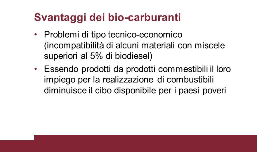 Svantaggi dei bio-carburanti Problemi di tipo tecnico-economico (incompatibilità di alcuni materiali con miscele superiori al 5% di biodiesel) Essendo