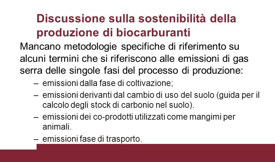 Discussione sulla sostenibilità della produzione di biocarburanti Mancano metodologie specifiche di riferimento su alcuni termini che si riferiscono a