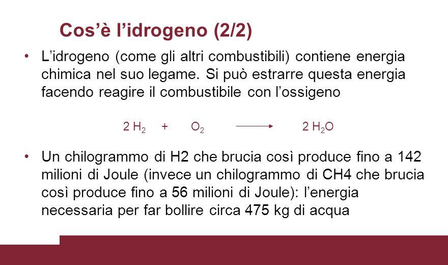 Cos'è l'idrogeno (2/2) L'idrogeno (come gli altri combustibili) contiene energia chimica nel suo legame. Si può estrarre questa energia facendo reagir