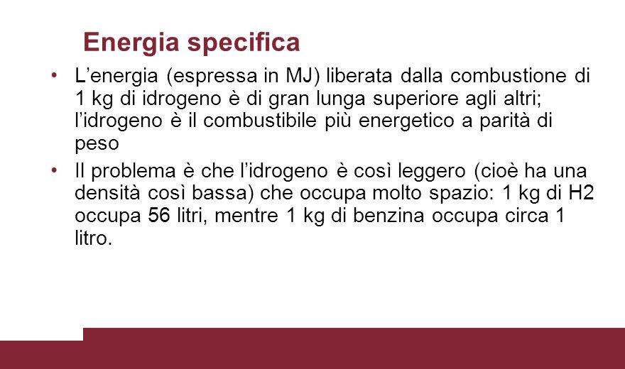 Energia specifica L'energia (espressa in MJ) liberata dalla combustione di 1 kg di idrogeno è di gran lunga superiore agli altri; l'idrogeno è il comb