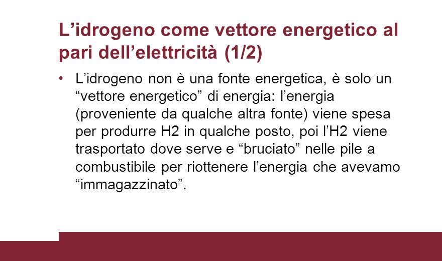 """L'idrogeno come vettore energetico al pari dell'elettricità (1/2) L'idrogeno non è una fonte energetica, è solo un """"vettore energetico"""" di energia: l'"""