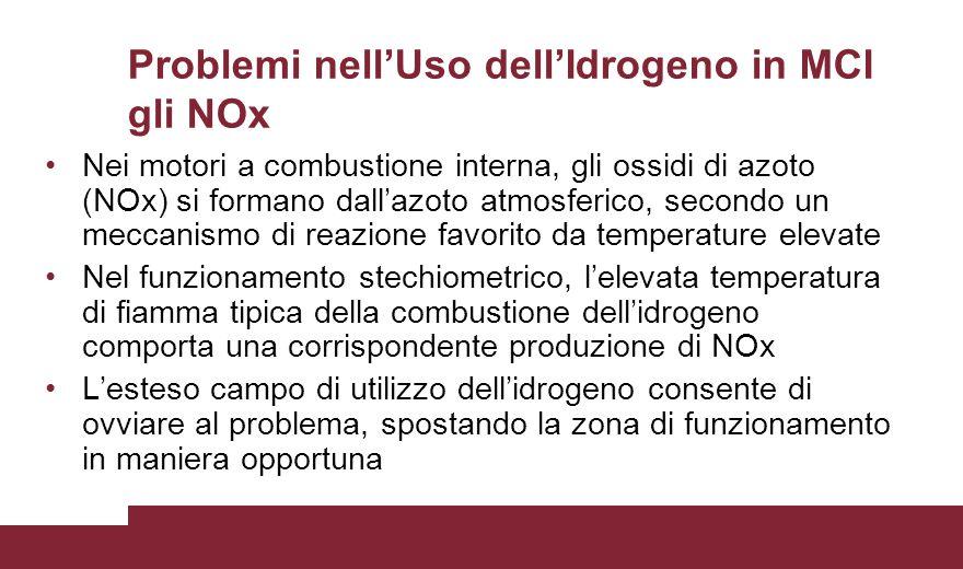 Problemi nell'Uso dell'Idrogeno in MCI gli NOx Nei motori a combustione interna, gli ossidi di azoto (NOx) si formano dall'azoto atmosferico, secondo