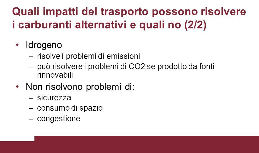 Quali impatti del trasporto possono risolvere i carburanti alternativi e quali no (2/2) Idrogeno –risolve i problemi di emissioni –può risolvere i pro