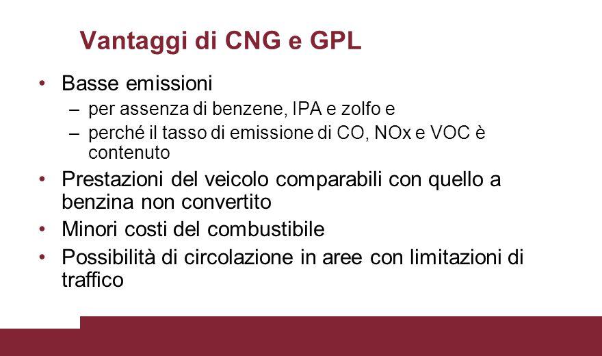 Vantaggi di CNG e GPL Basse emissioni –per assenza di benzene, IPA e zolfo e –perché il tasso di emissione di CO, NOx e VOC è contenuto Prestazioni de