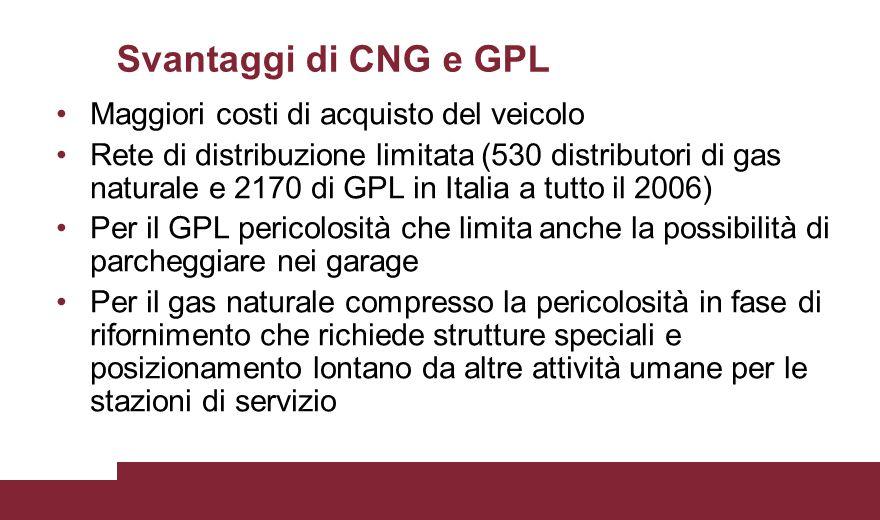 Svantaggi di CNG e GPL Maggiori costi di acquisto del veicolo Rete di distribuzione limitata (530 distributori di gas naturale e 2170 di GPL in Italia