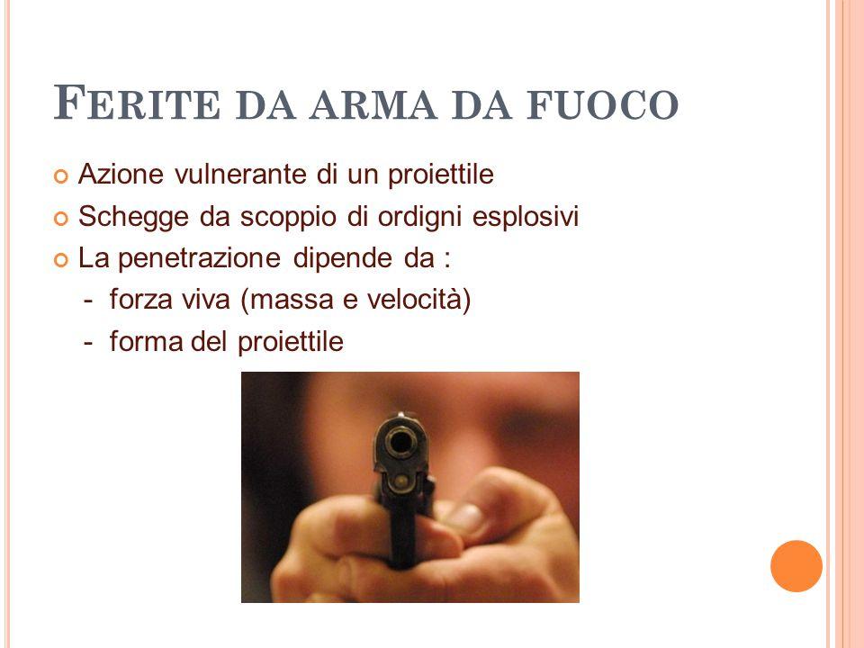 F ERITE DA ARMA DA FUOCO Azione vulnerante di un proiettile Schegge da scoppio di ordigni esplosivi La penetrazione dipende da : - forza viva (massa e