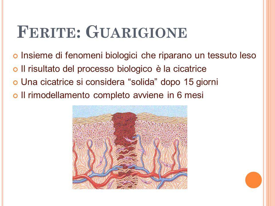 F ERITE : G UARIGIONE Insieme di fenomeni biologici che riparano un tessuto leso Il risultato del processo biologico è la cicatrice Una cicatrice si c