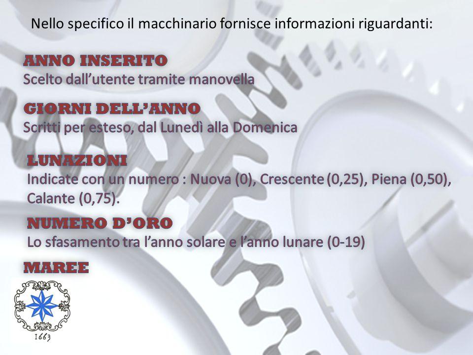 Nello specifico il macchinario fornisce informazioni riguardanti: