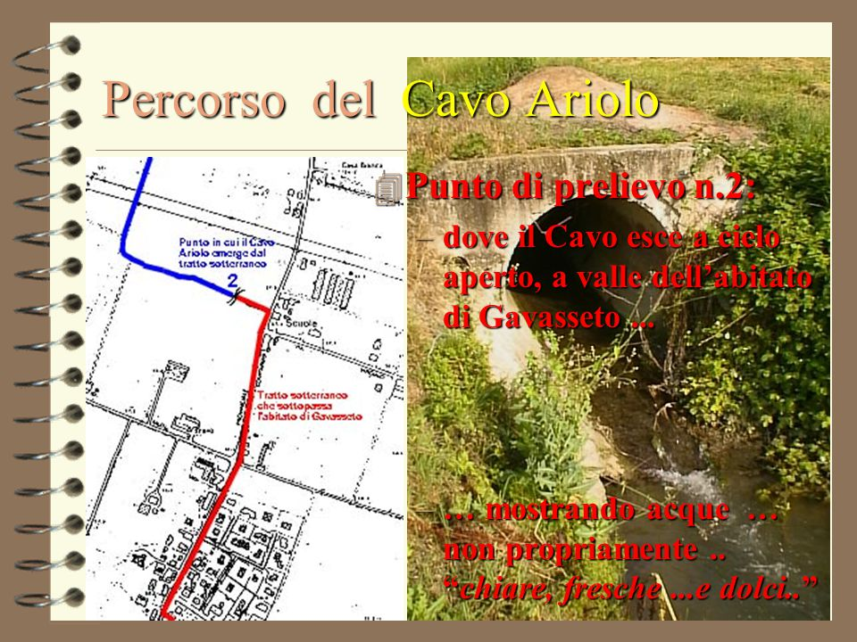 """4 Punto di prelievo n.2: –dove il Cavo esce a cielo aperto, a valle dell'abitato di Gavasseto... –… mostrando acque … non propriamente.. """"chiare, fres"""