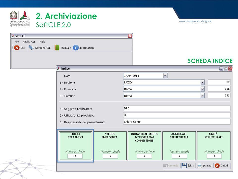 www.protezionecivile.gov.it 2. Archiviazione SoftCLE 2.0 SCHEDA INDICE