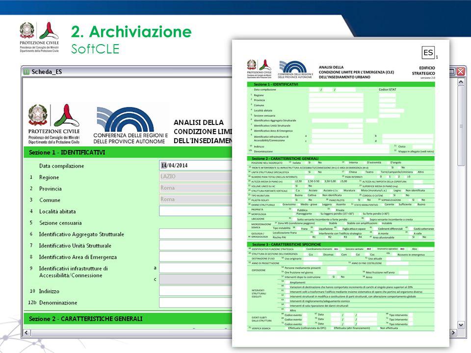 www.protezionecivile.gov.it 2. Archiviazione SoftCLE PANNELLO GESTIONE ES