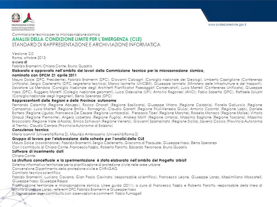 www.protezionecivile.gov.it Commissione tecnica per la microzonazione sismica ANALISI DELLA CONDIZIONE LIMITE PER L'EMERGENZA (CLE) STANDARD DI RAPPRE
