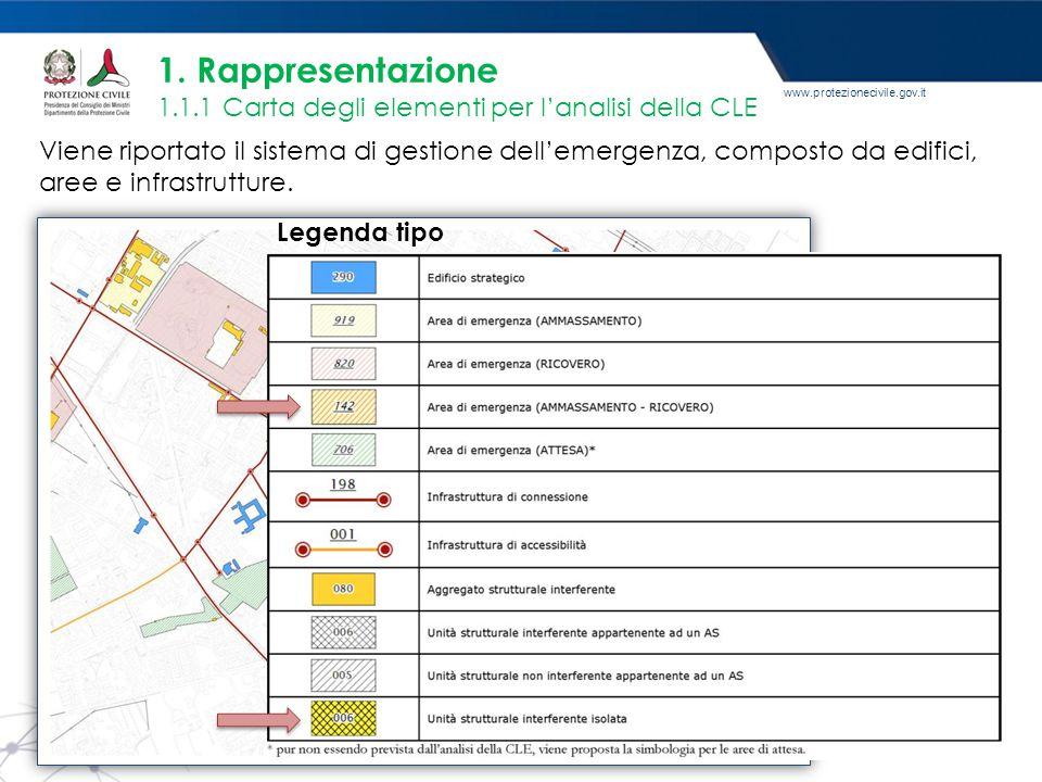 www.protezionecivile.gov.it Viene riportato il sistema di gestione dell'emergenza, composto da edifici, aree e infrastrutture. 1. Rappresentazione 1.1