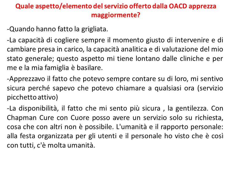 Quale aspetto/elemento del servizio offerto dalla OACD apprezza maggiormente.