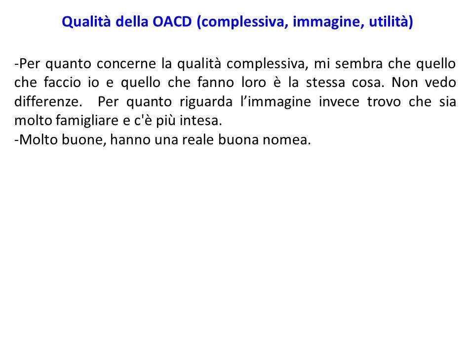 Qualità della OACD (complessiva, immagine, utilità) -Per quanto concerne la qualità complessiva, mi sembra che quello che faccio io e quello che fanno loro è la stessa cosa.