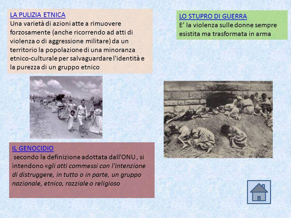 LA PULIZIA ETNICA Una varietà di azioni atte a rimuovere forzosamente (anche ricorrendo ad atti di violenza o di aggressione militare) da un territori