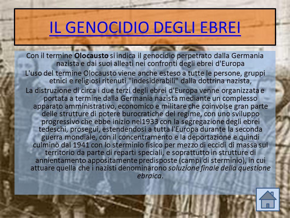 IL GENOCIDIO DEGLI EBREI Con il termine Olocausto si indica il genocidio perpetrato dalla Germania nazista e dai suoi alleati nei confronti degli ebre
