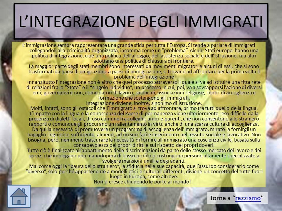 L'INTEGRAZIONE DEGLI IMMIGRATI L'immigrazione sembra rappresentare una grande sfida per tutta l'Europa. Si tende a parlare di immigrati collegandoli a