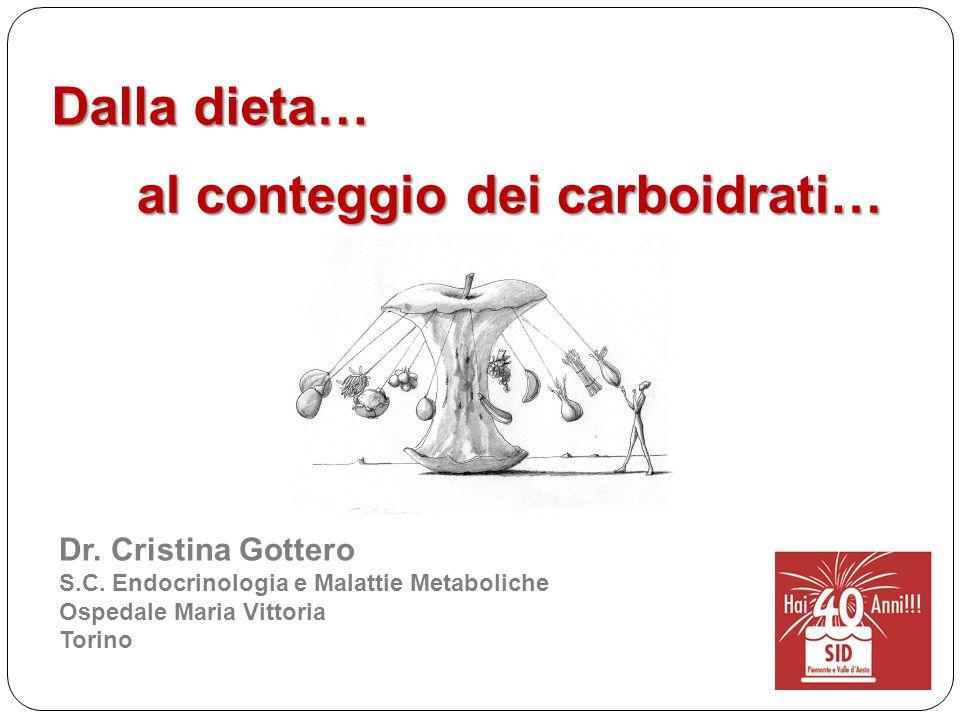 Dalla dieta… Dr. Cristina Gottero S.C. Endocrinologia e Malattie Metaboliche Ospedale Maria Vittoria Torino al conteggio dei carboidrati…