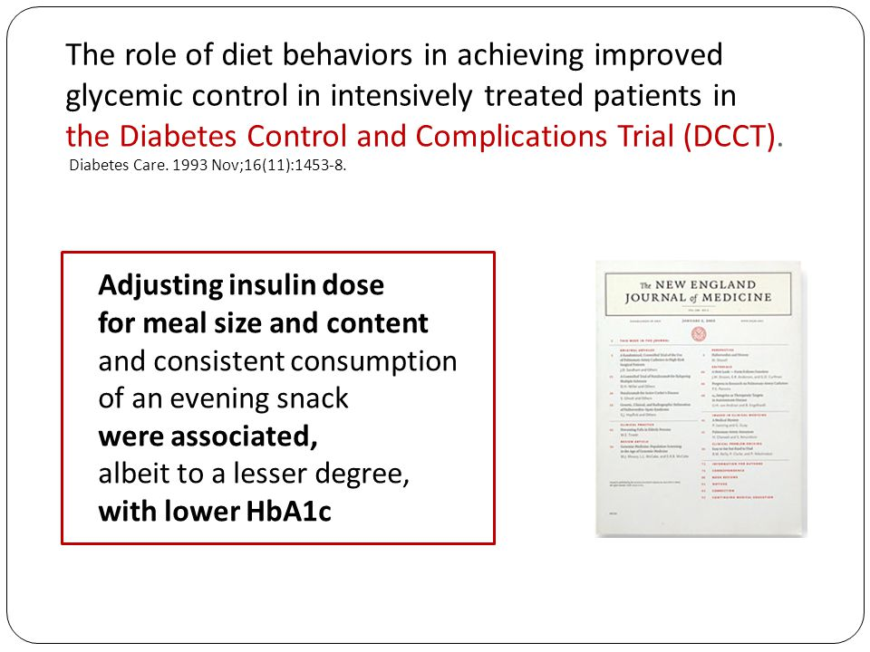 The role of diet behaviors in achieving improved glycemic control in intensively treated patients in the Diabetes Control and Complications Trial (DCCT).