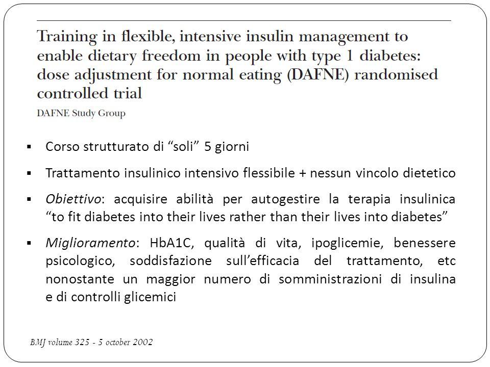 """ Corso strutturato di """"soli"""" 5 giorni  Trattamento insulinico intensivo flessibile + nessun vincolo dietetico  Obiettivo: acquisire abilità per aut"""