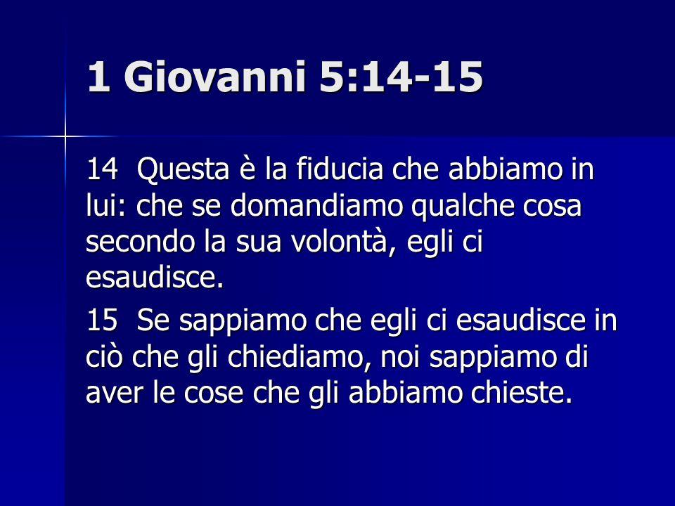 1 Giovanni 5:14-15 14 Questa è la fiducia che abbiamo in lui: che se domandiamo qualche cosa secondo la sua volontà, egli ci esaudisce. 15 Se sappiamo