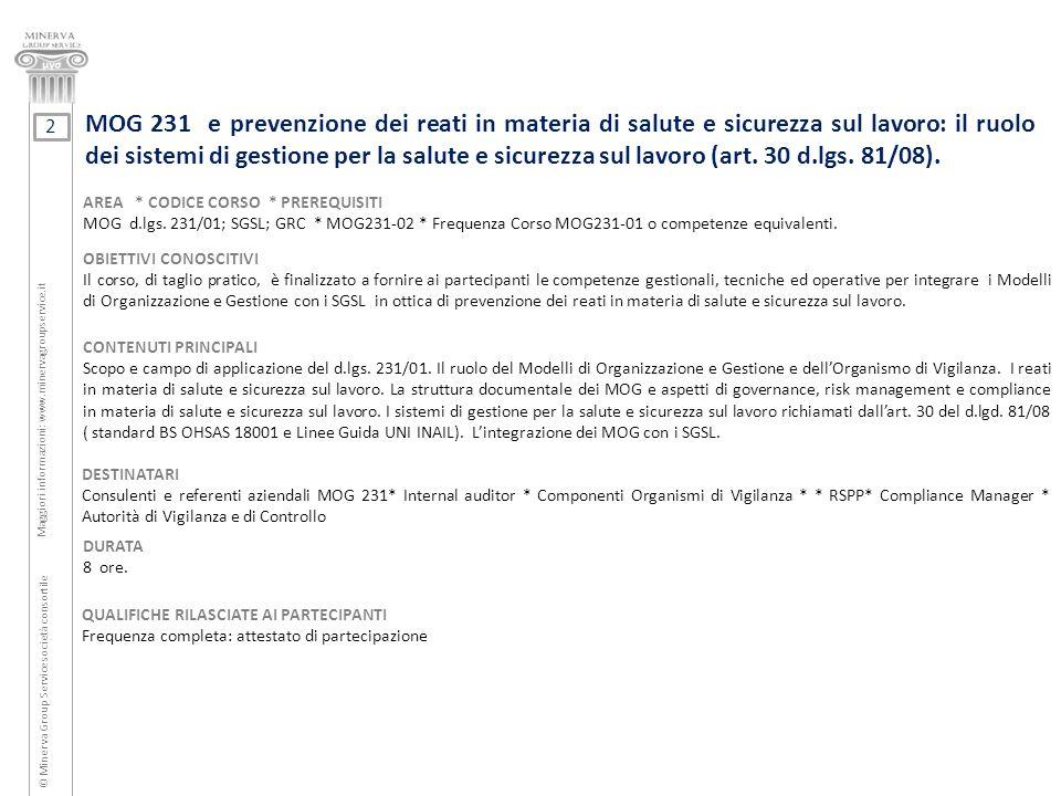 MOG 231 e prevenzione dei reati in materia di salute e sicurezza sul lavoro: il ruolo dei sistemi di gestione per la salute e sicurezza sul lavoro (ar
