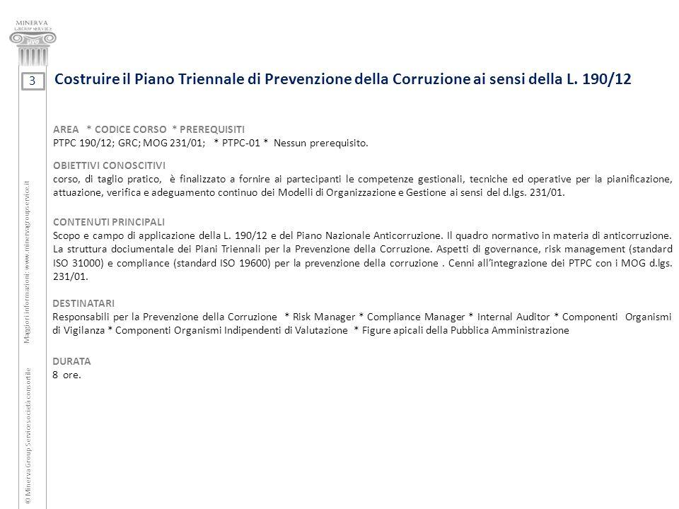 Costruire il Piano Triennale di Prevenzione della Corruzione ai sensi della L. 190/12 © Minerva Group Service società consortile Maggiori informazioni