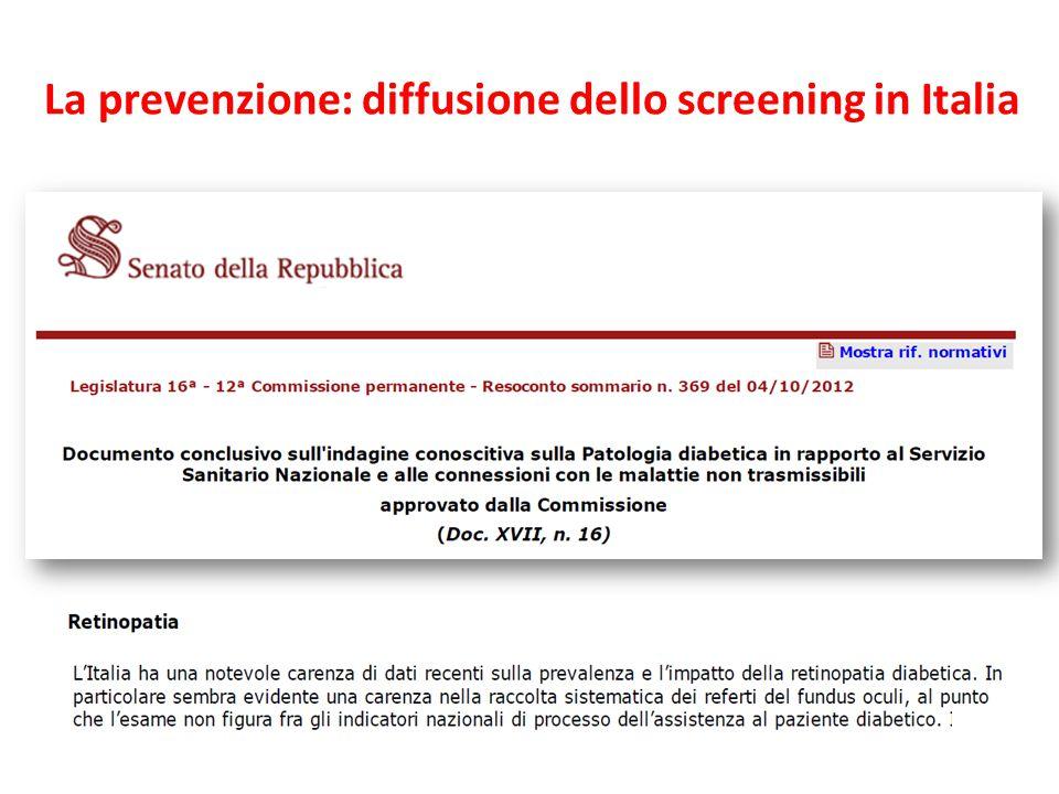 La prevenzione: diffusione dello screening in Italia