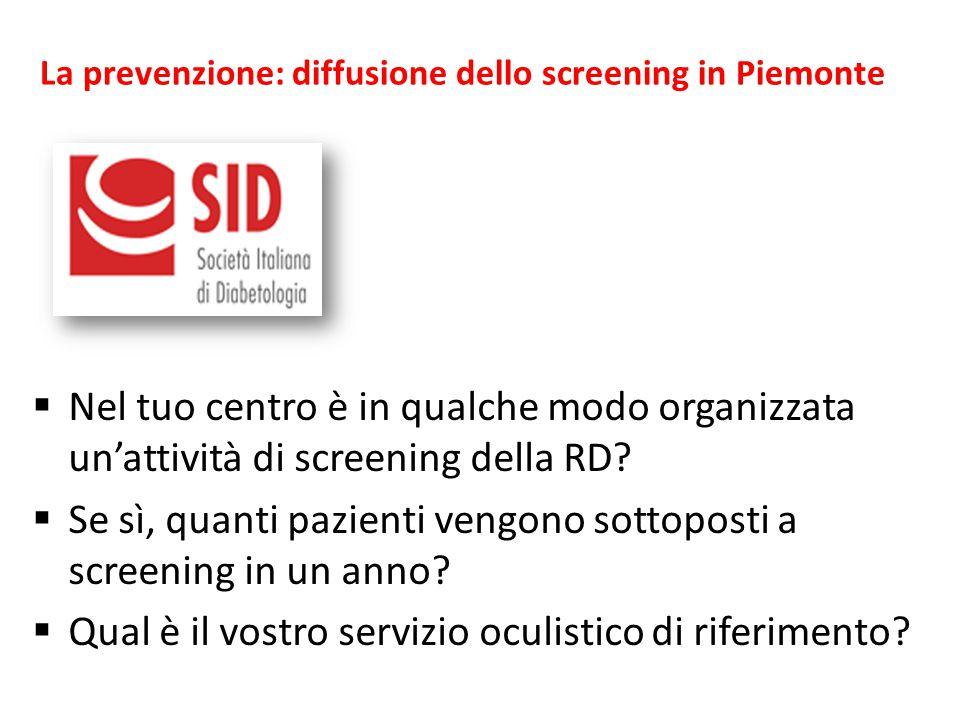  Nel tuo centro è in qualche modo organizzata un'attività di screening della RD?  Se sì, quanti pazienti vengono sottoposti a screening in un anno?