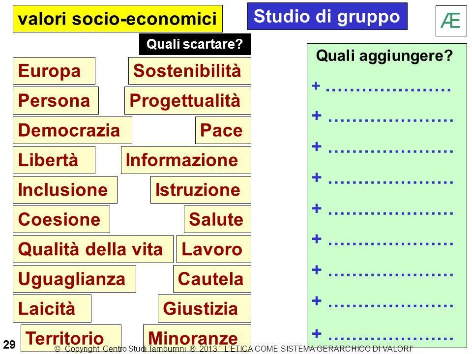 Europa Persona Democrazia Libertà Inclusione Coesione Qualità della vita Uguaglianza Laicità Territorio valori socio-economici Salute Cautela Lavoro G
