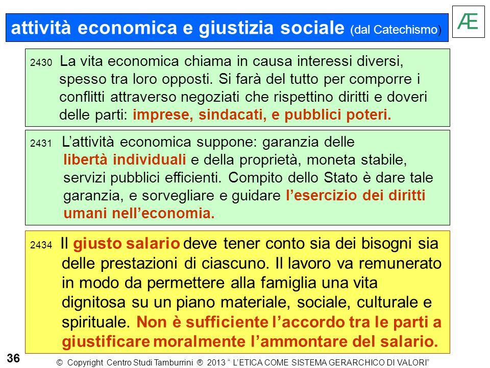 attività economica e giustizia sociale (dal Catechismo) 2430 La vita economica chiama in causa interessi diversi, spesso tra loro opposti. Si farà del