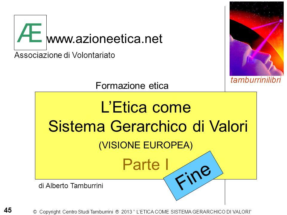 Æ www.azioneetica.net Associazione di Volontariato Formazione etica Æ 45 di Alberto Tamburrini tamburrinilibri L'Etica come Sistema Gerarchico di Valo