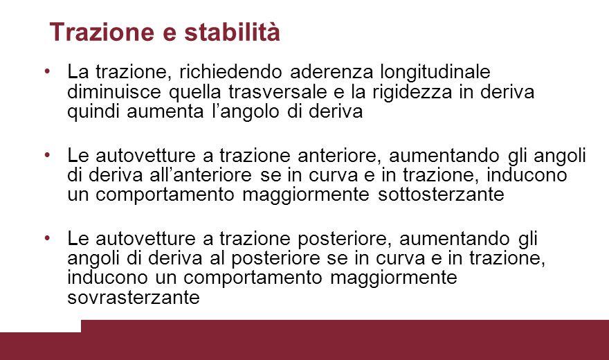 Trazione e stabilità La trazione, richiedendo aderenza longitudinale diminuisce quella trasversale e la rigidezza in deriva quindi aumenta l'angolo di