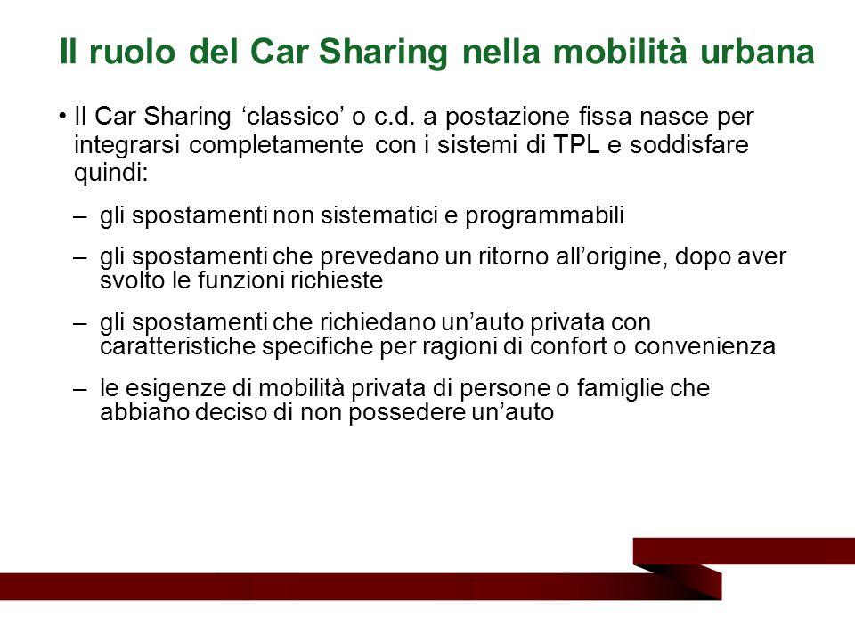 Il Car Sharing 'classico' o c.d. a postazione fissa nasce per integrarsi completamente con i sistemi di TPL e soddisfare quindi: –gli spostamenti non