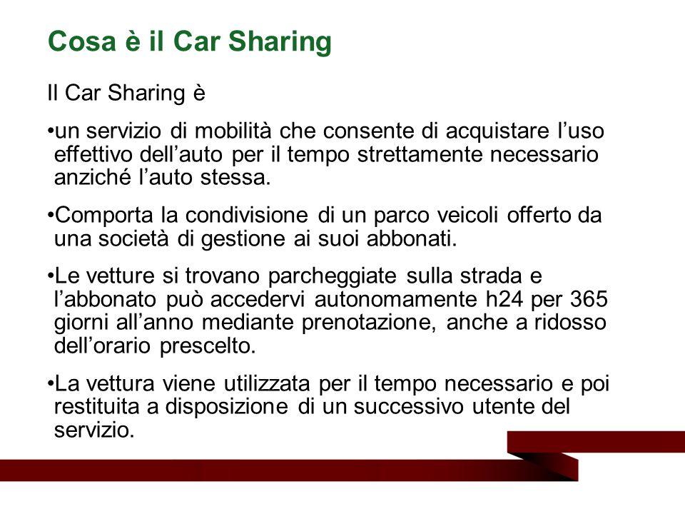 Il Car Sharing è un servizio di mobilità che consente di acquistare l'uso effettivo dell'auto per il tempo strettamente necessario anziché l'auto stes