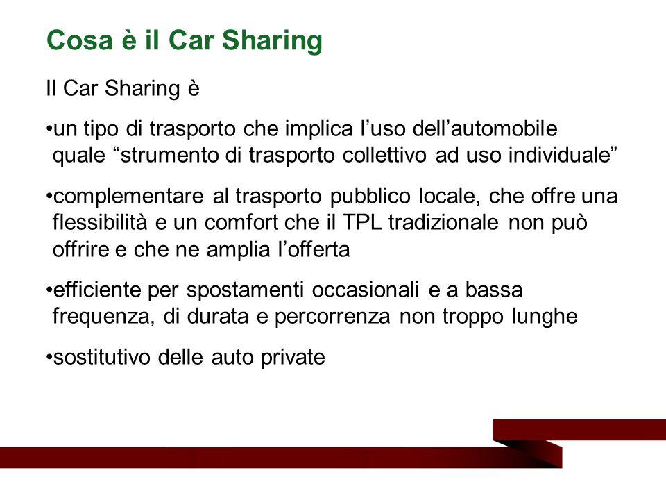 """Il Car Sharing è un tipo di trasporto che implica l'uso dell'automobile quale """"strumento di trasporto collettivo ad uso individuale"""" complementare al"""